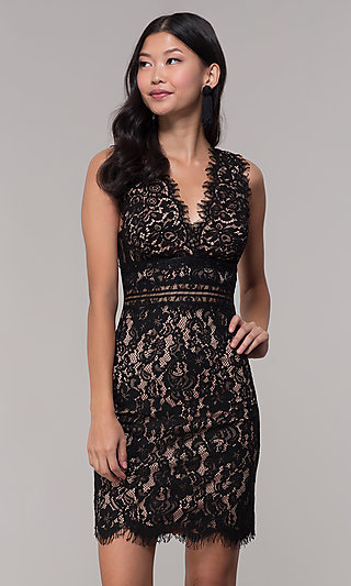 Nude-Lined Short Black Lace Wedding-Guest Dress