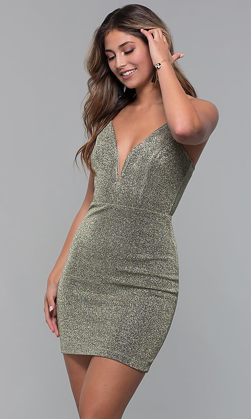1c3a8e6c27f4 Image of short gold glitter-knit v-neck holiday party dress. Style: