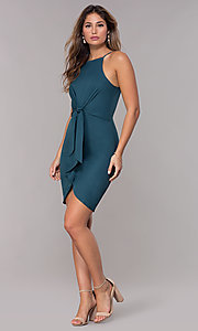 Image of short wedding-guest dress in hunter green. Style: MD-D15880ATD Detail Image 3