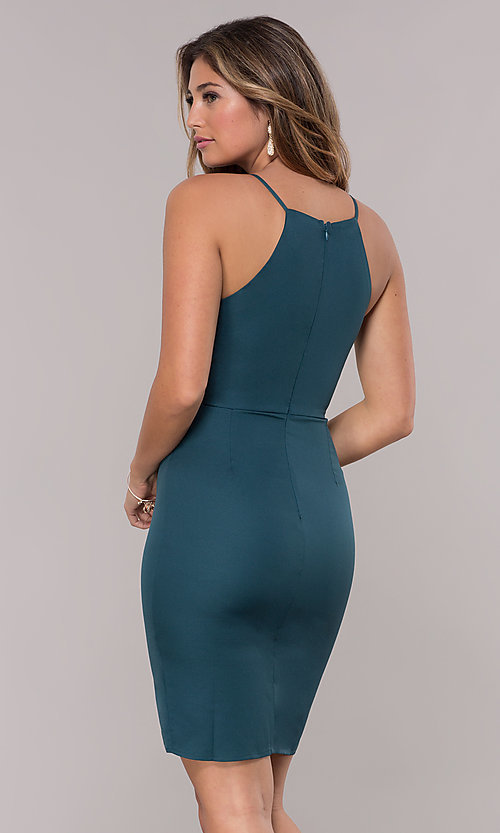 Image of short wedding-guest dress in hunter green. Style: MD-D15880ATD Back Image