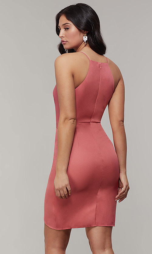 Image of short wedding-guest party dress with waist tie. Style: MD-D15880ATD Back Image