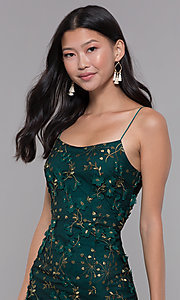 Image of embroidered emerald green short holiday party dress. Style: MT-9394 Detail Image 1