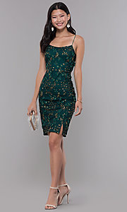 Image of embroidered emerald green short holiday party dress. Style: MT-9394 Detail Image 3