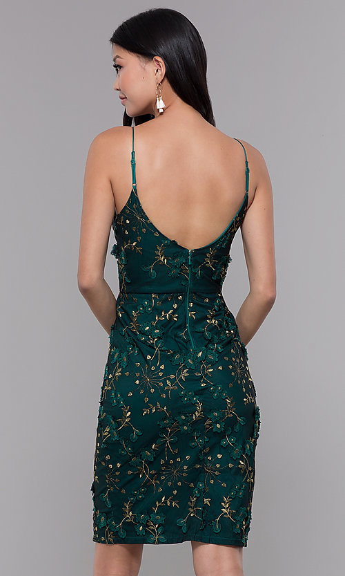 Image of embroidered emerald green short holiday party dress. Style: MT-9394 Back Image