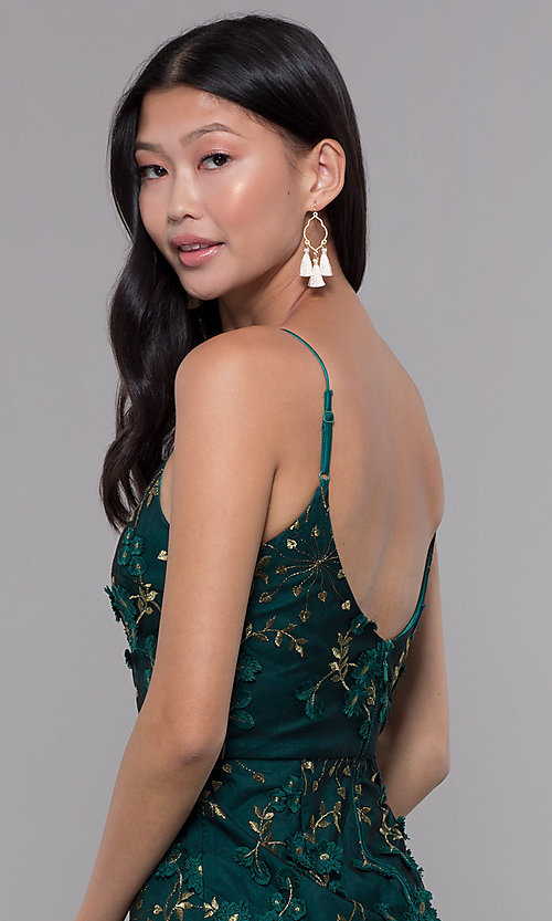 Image of embroidered emerald green short holiday party dress. Style: MT-9394 Detail Image 2