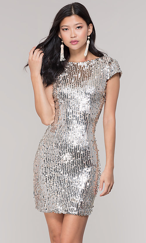 7fe8ff35bda Image of short silver sequin holiday party dress. Style  MT-9514 Front Image