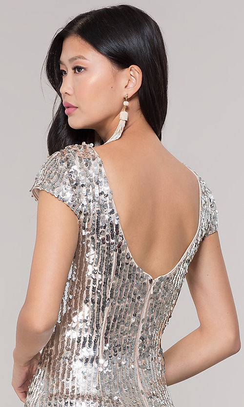 2050063ed82 Image of short silver sequin holiday party dress. Style  MT-9514 Detail  Image