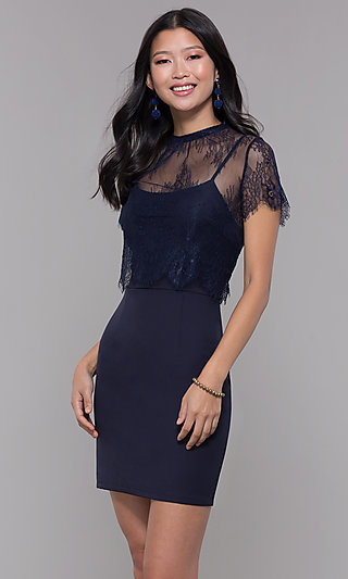 Lace-Popover Short Wedding-Guest Party Dress