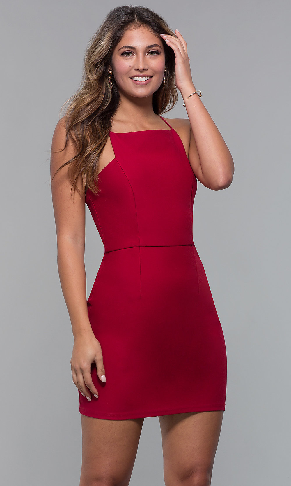 cb122bfa197 Short Red Bodycon Holiday Cocktail Party Dress