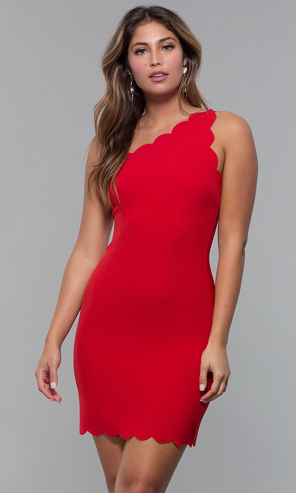 777dd46b8dd Image of short one-shoulder red party dress. Style: MT-9621 Front. Tap to  expand