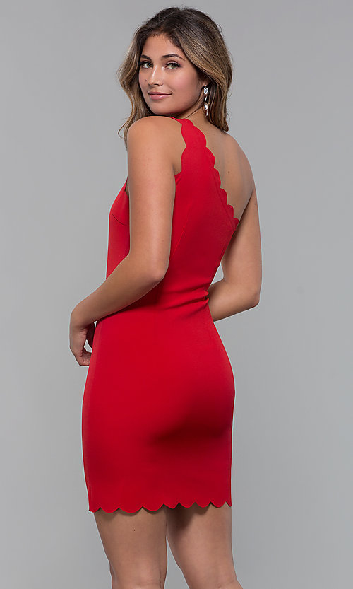 Image of short one-shoulder red party dress. Style  MT-9621 Back b9aa198a9