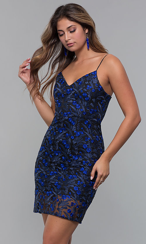 57a95651f54e Image of blue-embroidered short black holiday party dress. Style: MT-9530