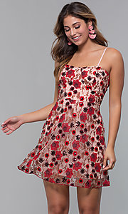 Image of floral-embroidered short chiffon party dress. Style: MT-9546 Front Image