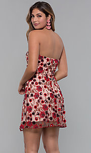 Image of floral-embroidered short chiffon party dress. Style: MT-9546 Back Image