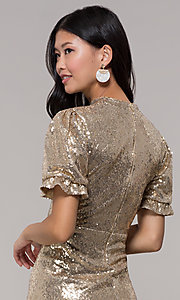 Image of short-sleeve gold sequin holiday party dress. Style: JTM-JD10177 Detail Image 2