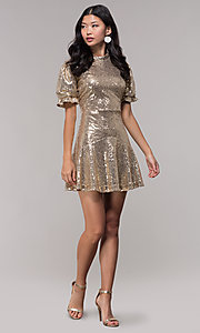 Image of short-sleeve gold sequin holiday party dress. Style: JTM-JD10177 Detail Image 3