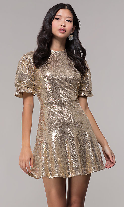 Image of short-sleeve gold sequin holiday party dress. Style: JTM-JD10177 Front Image