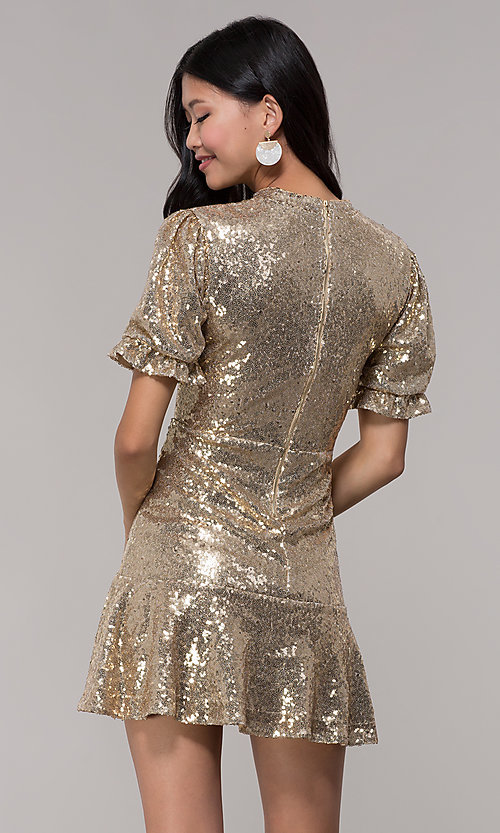 Image of short-sleeve gold sequin holiday party dress. Style: JTM-JD10177 Back Image