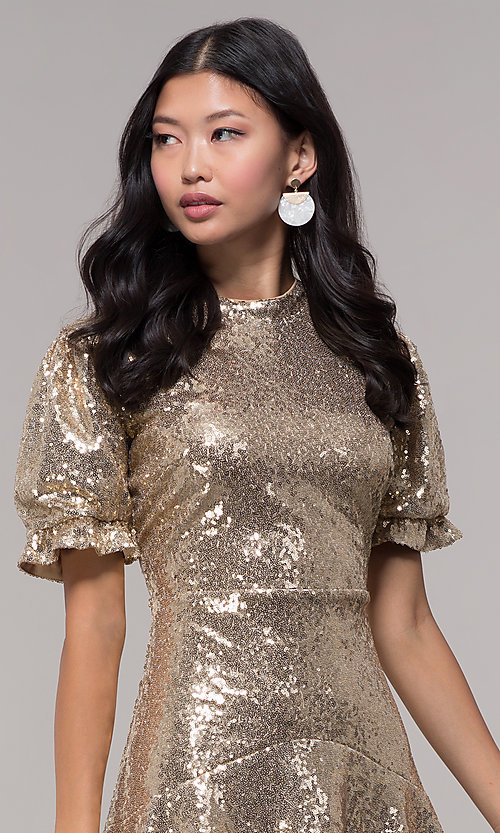 Image of short-sleeve gold sequin holiday party dress. Style: JTM-JD10177 Detail Image 1