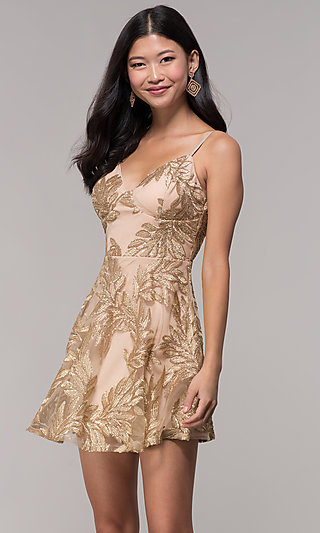 short embroidered sequin gold holiday party dress
