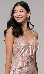 Image of rose gold sequin holiday party dress with ruffles. Style: JTM-JMD8844 Detail Image 1