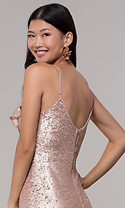 Image of rose gold sequin holiday party dress with ruffles. Style: JTM-JMD8844 Detail Image 2