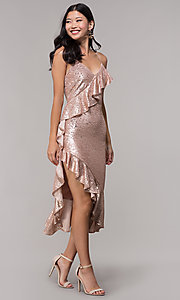 Image of rose gold sequin holiday party dress with ruffles. Style: JTM-JMD8844 Detail Image 3
