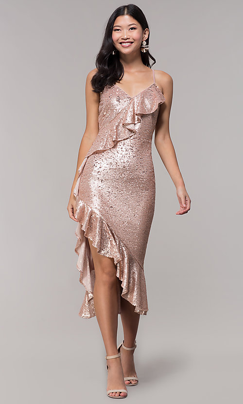 Image of rose gold sequin holiday party dress with ruffles. Style: JTM-JMD8844 Front Image