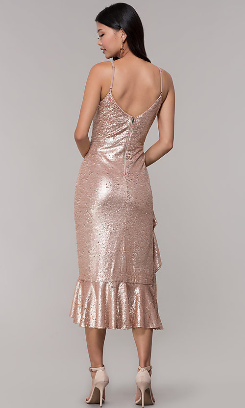 Image of rose gold sequin holiday party dress with ruffles. Style: JTM-JMD8844 Back Image