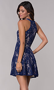Image of illusion-panel short lace homecoming party dress. Style: LP-25081 Back Image