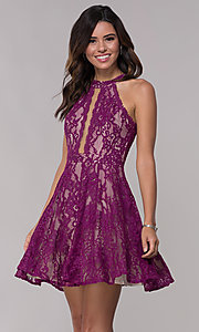 Image of illusion-panel short lace homecoming party dress. Style: LP-25081 Detail Image 2