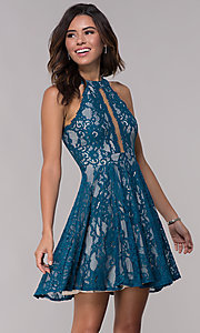 Image of illusion-panel short lace homecoming party dress. Style: LP-25081 Detail Image 3