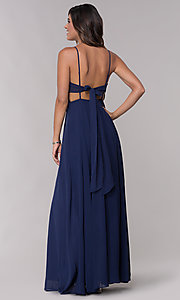 Image of v-neck long chiffon formal dress with tied bow. Style: LP-25486 Back Image