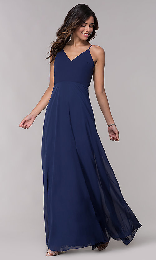 Image of v-neck long chiffon formal dress with tied bow. Style: LP-25486 Front Image