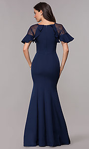 Image of short-sleeve formal mother-of-the-bride long dress. Style: LP-27589 Back Image