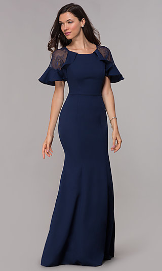 Short-Sleeve Formal Mother-of-the-Bride Long Dress
