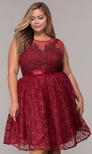e4de157efe Plus-Size Cocktail Dresses, Short Plus Party Dresses