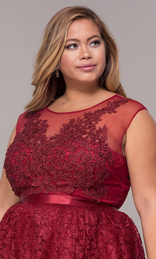 3dc01f8675 Image of embroidered-applique-bodice short plus party dress. Style  LP-