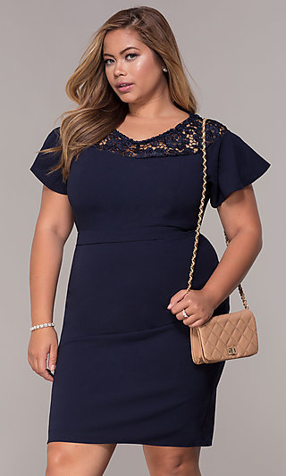 918e70abd97 Short-Sleeve Knee-Length Day-to-Night Plus Dress