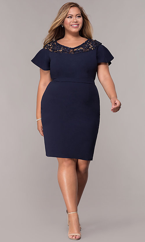 252952b3d Image of short-sleeve knee-length day-to-night plus dress.