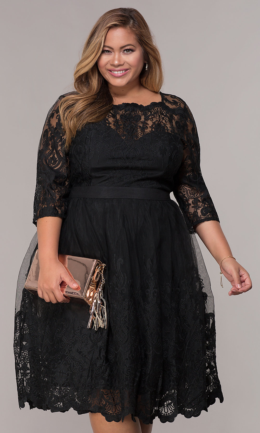 Short Lace Plus-Size 3/4-Sleeve Wedding-Guest Dress