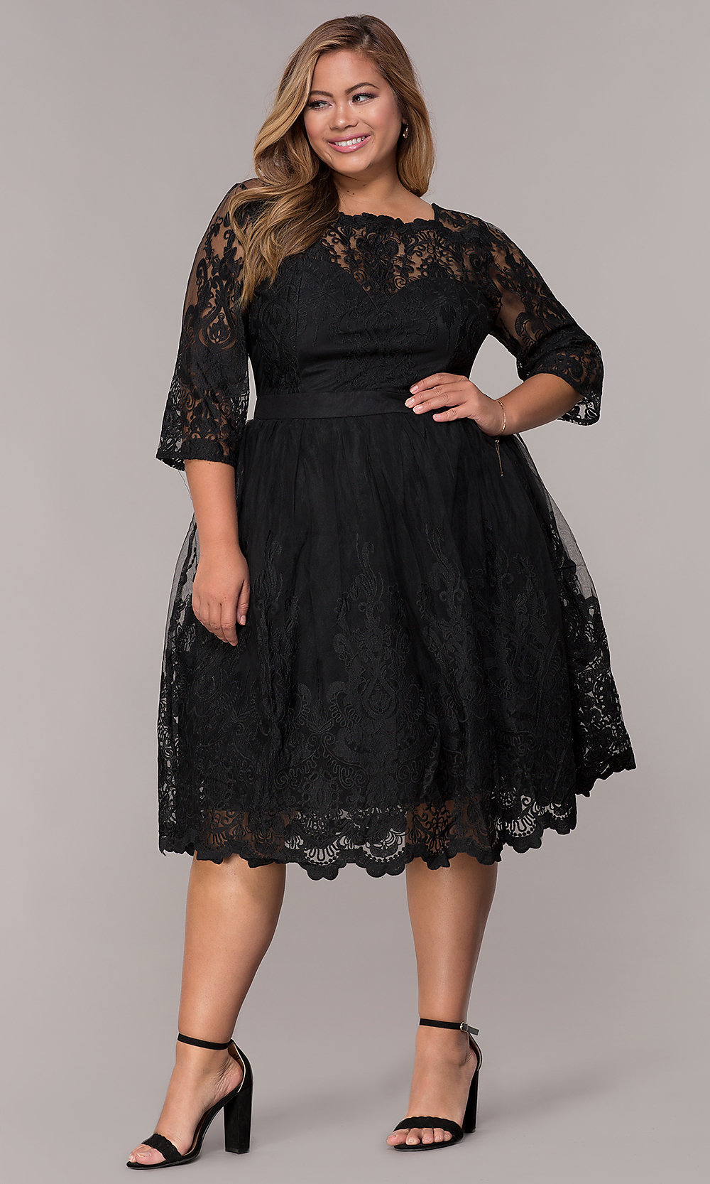 short 34sleeve lace plussize weddingguest dress