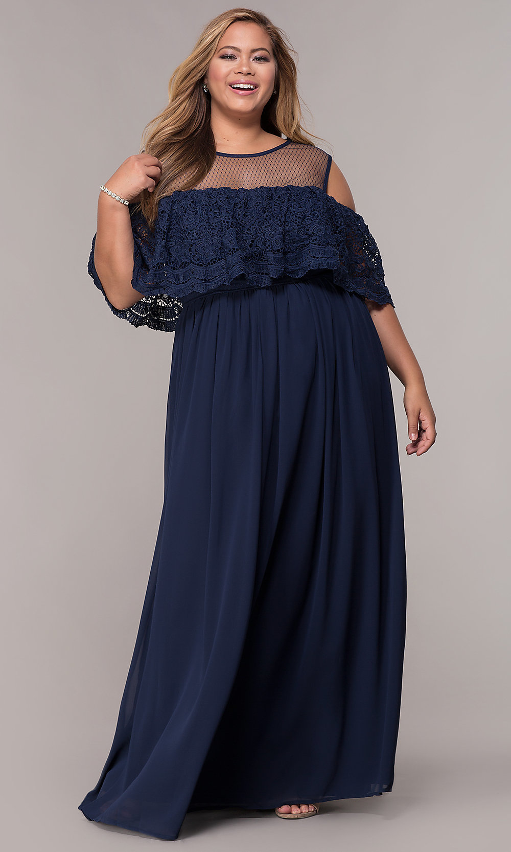 Plus-Size Formal Long Prom Dress with Lace Ruffle