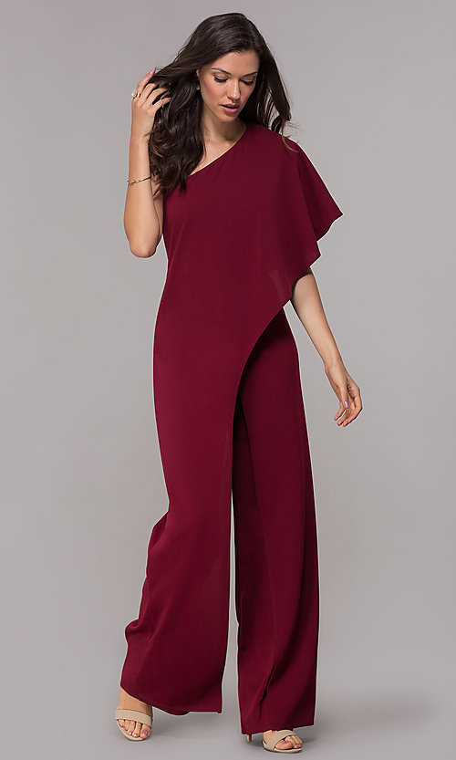 efdc7b24bda Image of one-shoulder burgundy red wedding-guest jumpsuit. Style  MCR-