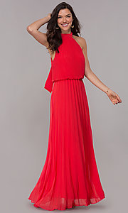 Image Of Long Pleated Red Wedding Guest Dress With High Neck Style Mcr