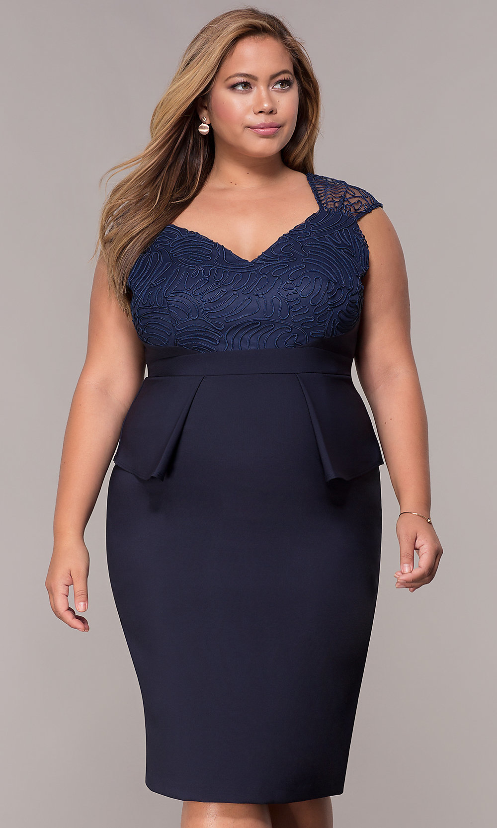 Plus-Size Knee-Length Navy Blue MOB Dress