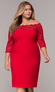 Image of plus-size red off-shoulder party dress with sleeves. Style: MCR-2080 Front Image