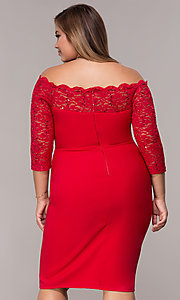 Image of plus-size red off-shoulder party dress with sleeves. Style: MCR-2080 Back Image