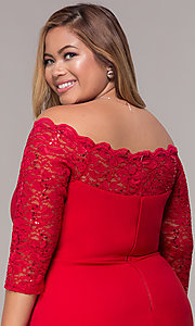 Image of plus-size red off-shoulder party dress with sleeves. Style: MCR-2080 Detail Image 2