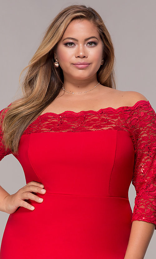 Image of plus-size red off-shoulder party dress with sleeves. Style: MCR-2080 Detail Image 1